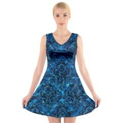 Damask1 Black Marble & Deep Blue Water (r) V Neck Sleeveless Skater Dress
