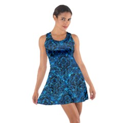 Damask1 Black Marble & Deep Blue Water (r) Cotton Racerback Dress