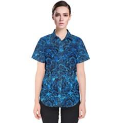 Damask1 Black Marble & Deep Blue Water (r) Women s Short Sleeve Shirt