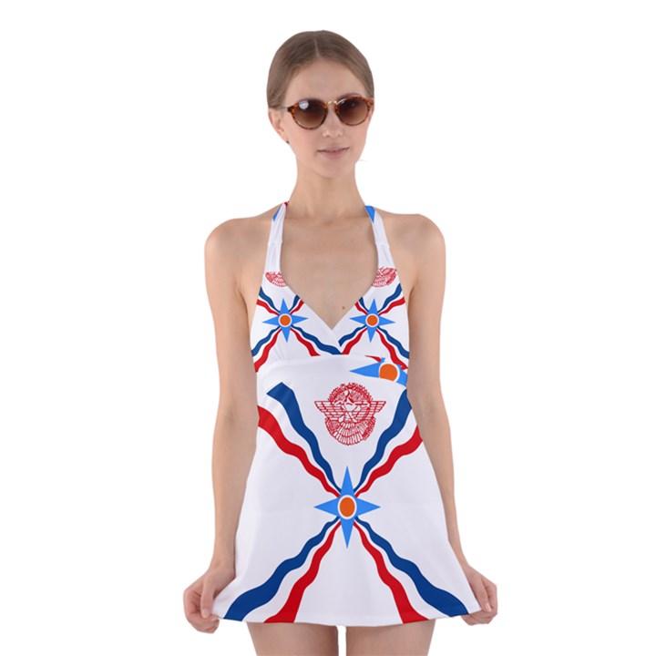 Assyrian Flag  Halter Swimsuit Dress