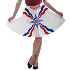 Assyrian Flag  A Line Skater Skirt