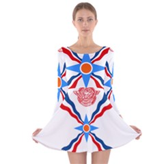 Assyrian Flag  Long Sleeve Velvet Skater Dress