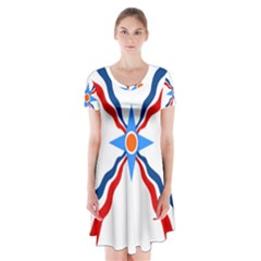 Assyrian Flag  Short Sleeve V Neck Flare Dress
