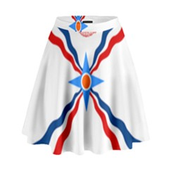 Assyrian Flag  High Waist Skirt