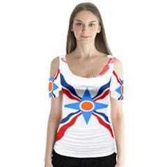 Assyrian Flag  Butterfly Sleeve Cutout Tee