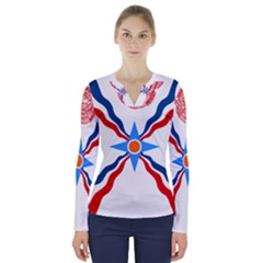 Assyrian Flag  V Neck Long Sleeve Top