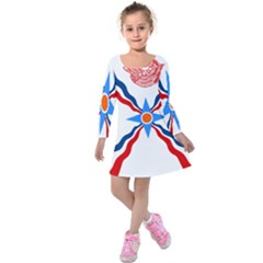 Assyrian Flag  Kids  Long Sleeve Velvet Dress