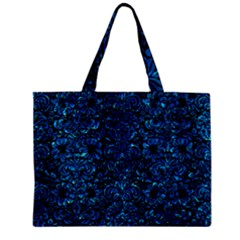 Damask2 Black Marble & Deep Blue Water Zipper Mini Tote Bag