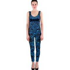 Damask2 Black Marble & Deep Blue Water Onepiece Catsuit