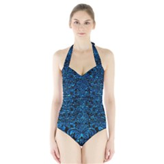 Damask2 Black Marble & Deep Blue Water Halter Swimsuit