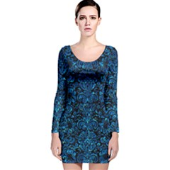 Damask2 Black Marble & Deep Blue Water Long Sleeve Velvet Bodycon Dress