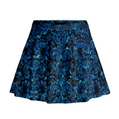 Damask2 Black Marble & Deep Blue Water Mini Flare Skirt