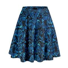Damask2 Black Marble & Deep Blue Water High Waist Skirt