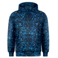 Damask2 Black Marble & Deep Blue Water (r) Men s Pullover Hoodie