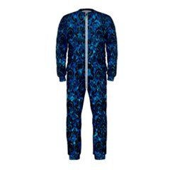 Damask2 Black Marble & Deep Blue Water (r) Onepiece Jumpsuit (kids)