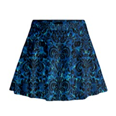 Damask2 Black Marble & Deep Blue Water (r) Mini Flare Skirt