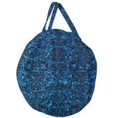 Damask2 Black Marble & Deep Blue Water (r) Giant Round Zipper Tote