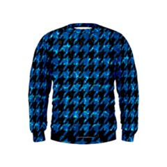 Houndstooth1 Black Marble & Deep Blue Water Kids  Sweatshirt