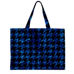 Houndstooth1 Black Marble & Deep Blue Water Zipper Mini Tote Bag