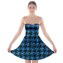 Houndstooth1 Black Marble & Deep Blue Water Strapless Bra Top Dress