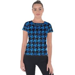 Houndstooth1 Black Marble & Deep Blue Water Short Sleeve Sports Top