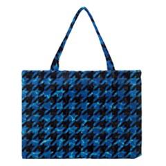 Houndstooth1 Black Marble & Deep Blue Water Medium Tote Bag