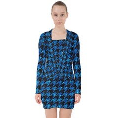 Houndstooth1 Black Marble & Deep Blue Water V Neck Bodycon Long Sleeve Dress