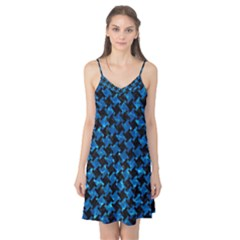Houndstooth2 Black Marble & Deep Blue Water Camis Nightgown