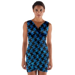 Houndstooth2 Black Marble & Deep Blue Water Wrap Front Bodycon Dress