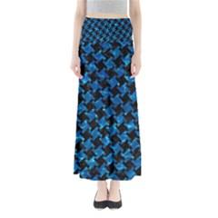 Houndstooth2 Black Marble & Deep Blue Water Full Length Maxi Skirt