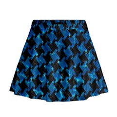 Houndstooth2 Black Marble & Deep Blue Water Mini Flare Skirt