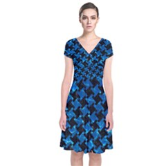 Houndstooth2 Black Marble & Deep Blue Water Short Sleeve Front Wrap Dress
