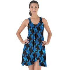 Houndstooth2 Black Marble & Deep Blue Water Show Some Back Chiffon Dress