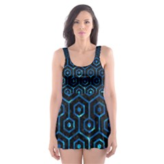 Hexagon1 Black Marble & Deep Blue Water Skater Dress Swimsuit
