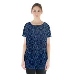 Hexagon1 Black Marble & Deep Blue Water Skirt Hem Sports Top