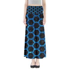 Hexagon2 Black Marble & Deep Blue Water Full Length Maxi Skirt