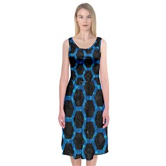 Hexagon2 Black Marble & Deep Blue Water Midi Sleeveless Dress