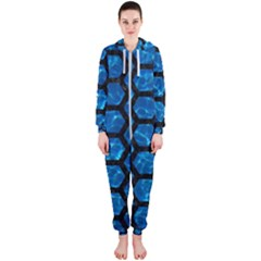 Hexagon2 Black Marble & Deep Blue Water (r) Hooded Jumpsuit (ladies)