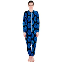 Hexagon2 Black Marble & Deep Blue Water (r) Onepiece Jumpsuit (ladies)