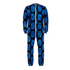 Hexagon2 Black Marble & Deep Blue Water (r) Onepiece Jumpsuit (kids)