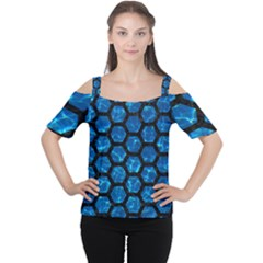 Hexagon2 Black Marble & Deep Blue Water (r) Cutout Shoulder Tee