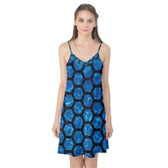 Hexagon2 Black Marble & Deep Blue Water (r) Camis Nightgown