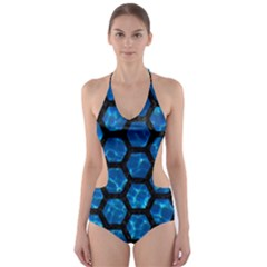 Hexagon2 Black Marble & Deep Blue Water (r) Cut Out One Piece Swimsuit