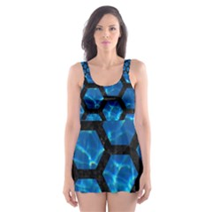 Hexagon2 Black Marble & Deep Blue Water (r) Skater Dress Swimsuit