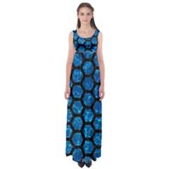Hexagon2 Black Marble & Deep Blue Water (r) Empire Waist Maxi Dress