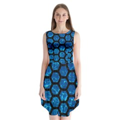 Hexagon2 Black Marble & Deep Blue Water (r) Sleeveless Chiffon Dress