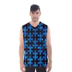 Puzzle1 Black Marble & Deep Blue Water Men s Basketball Tank Top