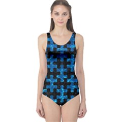 Puzzle1 Black Marble & Deep Blue Water One Piece Swimsuit