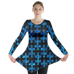 Puzzle1 Black Marble & Deep Blue Water Long Sleeve Tunic