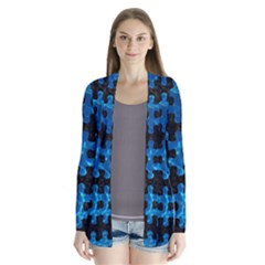 Puzzle1 Black Marble & Deep Blue Water Drape Collar Cardigan